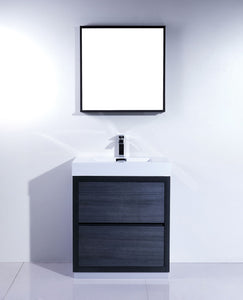"Kubebath - Bliss 30"" Gray Oak Free Standing Modern Bathroom Vanity"