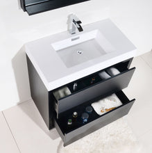 "Kubebath - Bliss 36"" Black Free Standing Modern Bathroom Vanity"