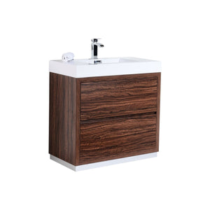 "Bliss 36"" Walnut Free Standing Modern Bathroom Vanity"