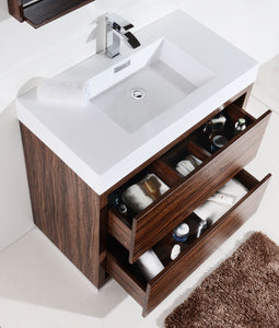 "Kubebath - Bliss 36"" Walnut Free Standing Modern Bathroom Vanity"