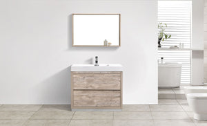 "Kubebath - Bliss 40"" Nature Wood Free Standing Modern Bathroom Vanity"