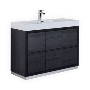 "Bliss 48"" Gray Oak Free Standing Modern Bathroom Vanity"