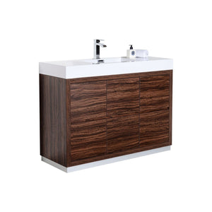 "Bliss 48"" Walnut Free Standing Modern Bathroom Vanity"