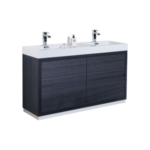 "Bliss 60"" Double Sink Gray Oak Free Standing Modern Bathroom Vanity"