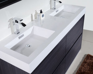 "Kubebath - Bliss 60"" Double Sink Gray Oak Free Standing Modern Bathroom Vanity"