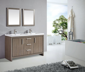"Miami 60"" Double Sink Bathroom Vanity Set, Grey Pine"