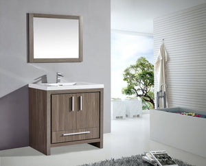 "Miami 36"" Single Sink Bathroom Vanity Set, Grey Pine"