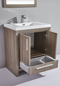 "Miami 30"" Single Sink Bathroom Vanity Set, Grey Pine"