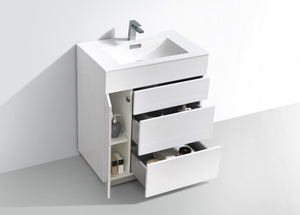 "Kubebath - Milano 30"" High Glossy White Wall Mount Modern Bathroom Vanity"