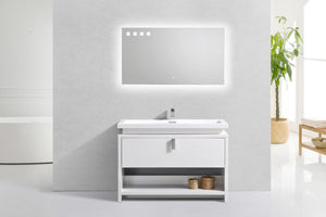 "Kubebath - Levi 48"" High Gloss White Modern Bathroom Vanity W/ Cubby Hole"