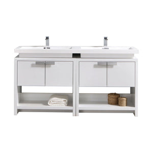 "Levi 63"" High Gloss White Modern Bathroom Vanity w/ Cubby Hole"