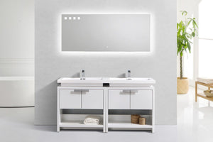 "Kubebath - Levi 63"" High Gloss White Modern Bathroom Vanity W/ Cubby Hole"