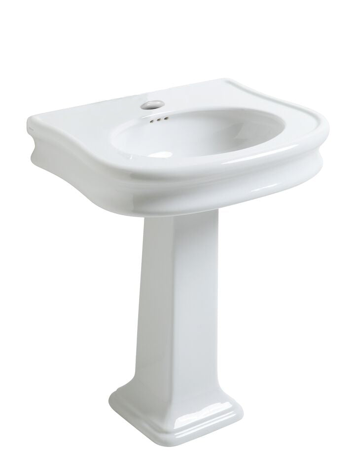 Isabella Collection Traditional Pedestal Sink With Integrated Oval Bowl, Seamless Rounded Decorative Trim, Rear Overflow And Single Hole Faucet Drill
