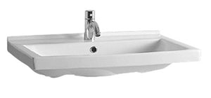 Isabella Collection Rectangular Wall Mount Bath Basin With Single Hole Faucet Drilling, Chrome Overflow And Rear Center Drain