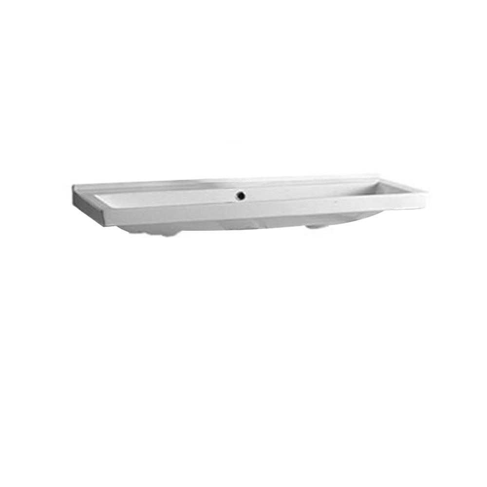 Isabella Collection Large Rectangular Basin With Chrome Overflow And No Hole Faucet Drilling