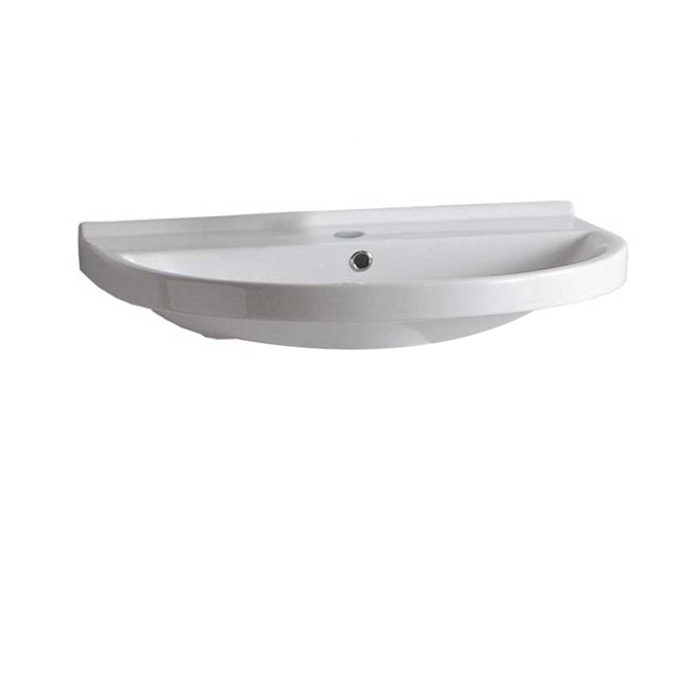 Isabella Collection Large U-Shaped Wall Mount Bathroom Basin With Single Hole Faucet Drilling, Chrome Overflow And Rear Center Drain