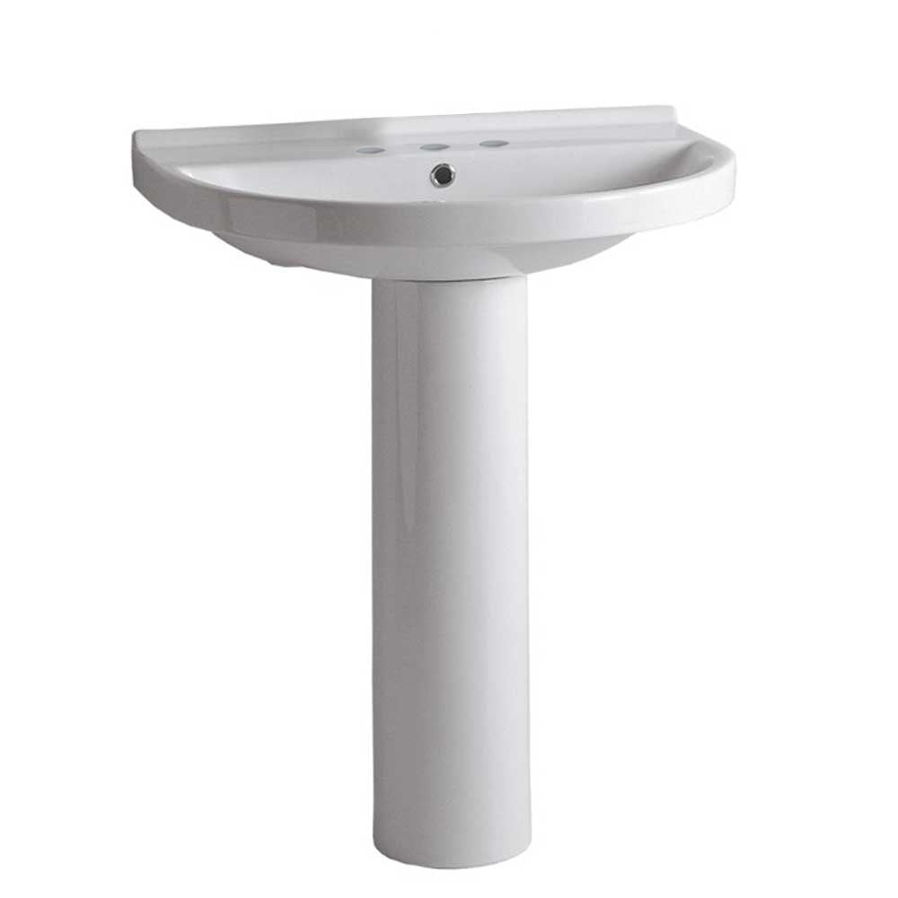 Isabella Collection Tubular Pedestal Sink With Large U-Shaped Basin, Chrome Overflow And Widespread Faucet Drilling