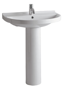 Isabella Collection Tubular Pedestal Sink With Large U-Shaped Basin, Chrome Overflow And Single Hole Faucet Drilling
