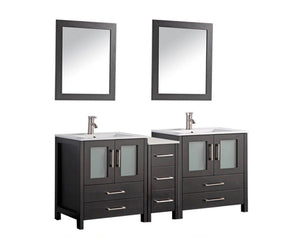 "Argentina 72"" Double Sink Bathroom Vanity Set, Espresso"