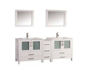 "Argentina 72"" Double Sink Bathroom Vanity Set, White"