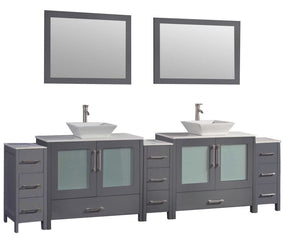 "Jordan 108"" Double Sink Bathroom Vanity Set, Grey"