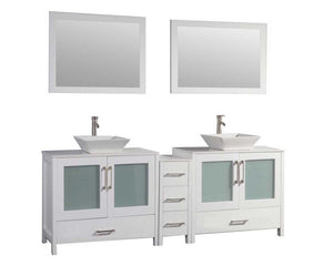 "Jordan 60"" Double Sink Bathroom Vanity Set, White"