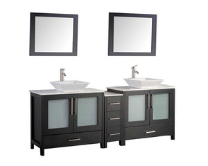 "Jordan 72"" Double Sink Bathroom Vanity Set, Espresso"