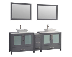 "Jordan 72"" Double Sink Bathroom Vanity Set, Grey"