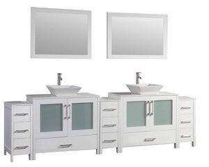 "Jordan 84"" Double Sink Bathroom Vanity Set, White"