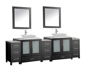 "Jordan 96"" Double Sink Bathroom Vanity Set, Espresso"