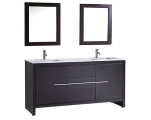 "Cypress 72"" Double Sink Bathroom Vanity Set, Espresso"