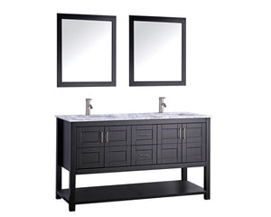 "Norway 60"" Double Sink Bathroom Vanity Set, Espresso"
