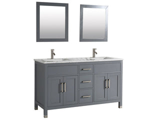 "Ricca 60"" Double Sink Bathroom Vanity Set, Grey"