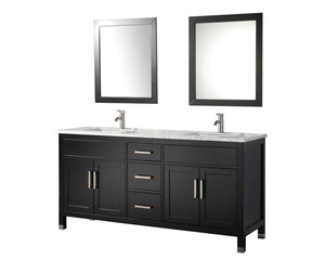 "Ricca 72"" Double Sink Bathroom Vanity Set, Espresso"