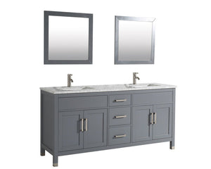 "Ricca 72"" Double Sink Bathroom Vanity Set, Grey"