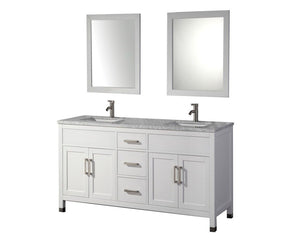 "Ricca 72"" Double Sink Bathroom Vanity Set, White"