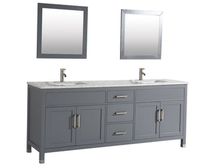 "Ricca 84"" Double Sink Bathroom Vanity Set, Grey"