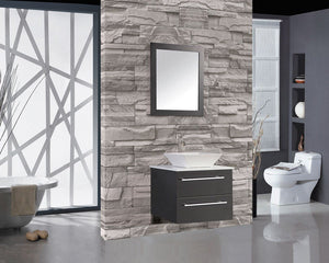 "Malta 36"" Single Sink Wall Mounted Bathroom Vanity Set, Espresso"