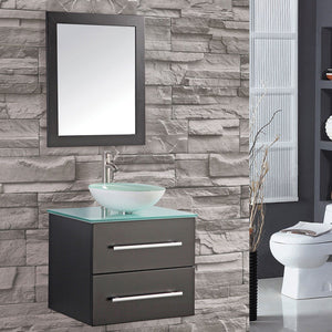 "Cuba 36"" Single Sink Wall Mounted Bathroom Vanity Set, Espresso"