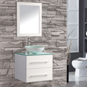 "Cuba 36"" Single Sink Wall Mounted Bathroom Vanity Set, White"