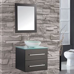"Cuba 24"" Single Sink Wall Mounted Bathroom Vanity Set, Espresso"