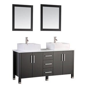 "Aruba 60"" Double Sink Bathroom Vanity Set, Espresso"