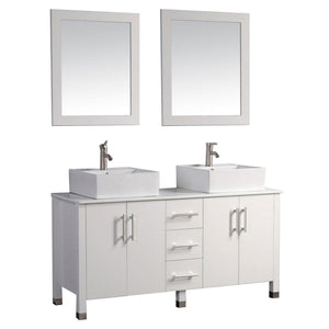 "Aruba 60"" Double Sink Bathroom Vanity Set, White"