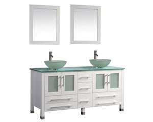 "Cuba 61"" Double Sink Bathroom Vanity Set, White"