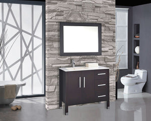 "Monaco 40"" Single Sink Bathroom Vanity Set (Sink on Left Side), Espresso"