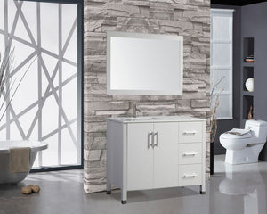 "Monaco 40"" Single Sink Bathroom Vanity Set (Sink on Left Side), White"