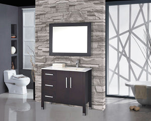 "Monaco 40"" Single Sink Bathroom Vanity Set (Sink on Right Side), Espresso"