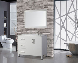 "Monaco 40"" Single Sink Bathroom Vanity Set (Sink on Right Side), White"