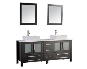 "Malta 71"" Double Sink Bathroom Vanity Set, Espresso"