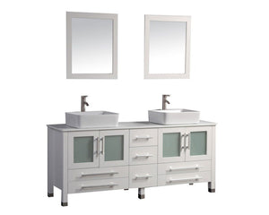 "Malta 71"" Double Sink Bathroom Vanity Set, White"